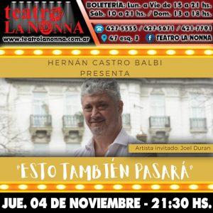 "HERNÁN CASTRO BALBI presenta ""Esto también pasará"""